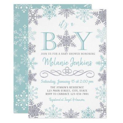 Boy Winter Snowflake Baby Shower Invitations