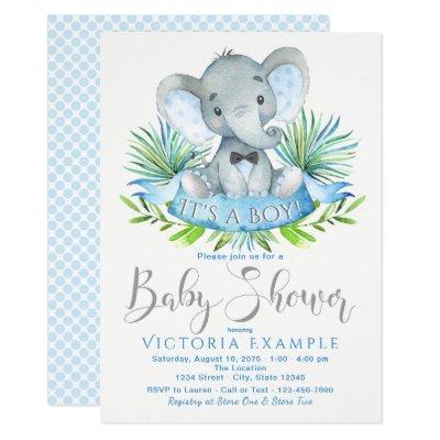 Boys Baby Elephant Invitations