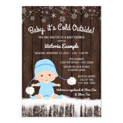 Boys Baby its Cold Outside Winter Baby Shower Invitation