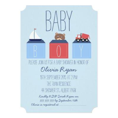 Boys Blocks Invitations