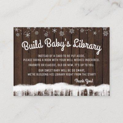 Boys Bring a Book Cards Rustic Wood Snowflake