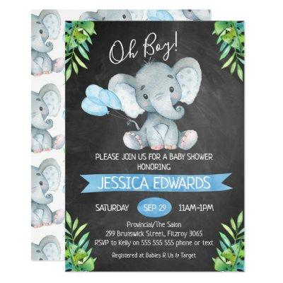 Boys Chalkboard Elephant Baby Shower Invitations