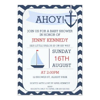 Boys Chevron Nautical Baby Shower Invitation