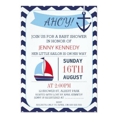 Boys Chevron Nautical Boat Baby Shower Invitations