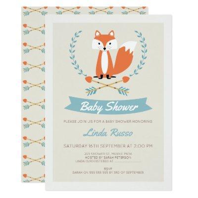 Boys Fox And Arrows Baby Shower Invitation