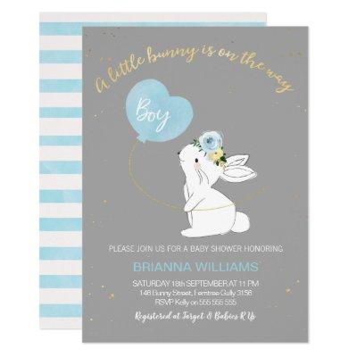 Boys Grey Blue Bunny Baby Shower invitation