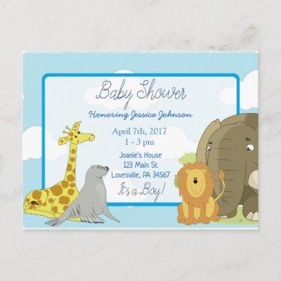 Boy's Jungle or Zoo Animals Themed Baby Shower Invitation Postcard