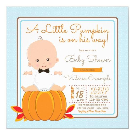 Boys Little Pumpkin Baby Shower Invitations