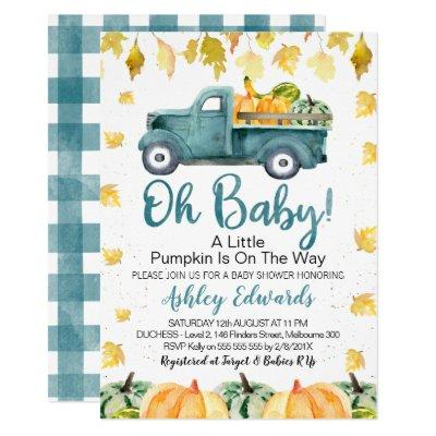 Boy's Little Pumpkin Baby Shower Invitation