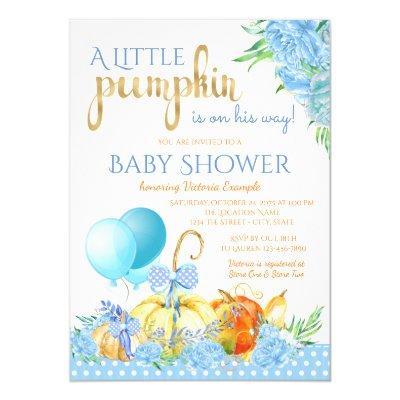 Boys Little Pumpkin Baby Shower Invitations