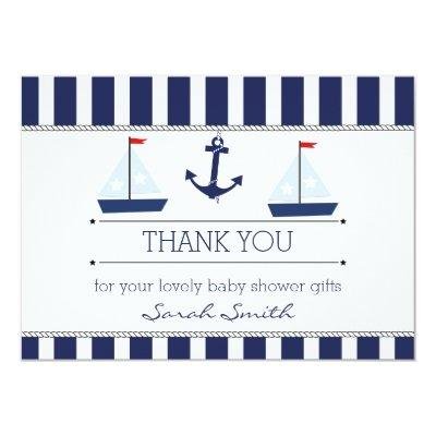 Boys Nautical Baby Shower Flat Thank You Invitations