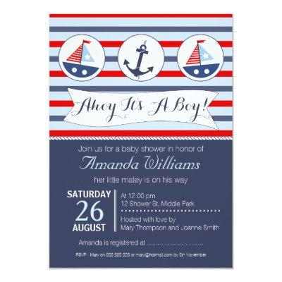 Boys Nautical Baby Shower Invitations