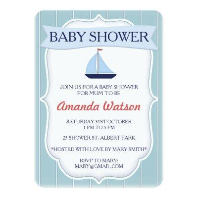 Boys Nautical Sail Boat Baby Shower Invitations