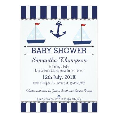 Boys Nautical Sail Boats Baby Shower Invitation