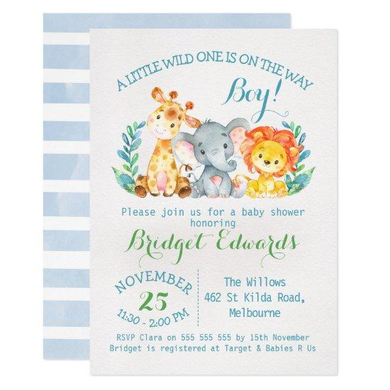 Boy's Safari Animals Baby Shower Invitations