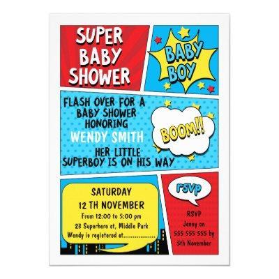 Boys Superhero Baby Shower Invitations