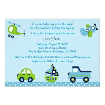 Boys Transportation Invitations