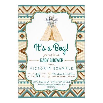 Boys Tribal Teepee Turquoise Aztec Baby Shower Invitation