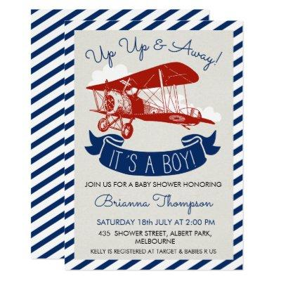 Boy's Vintage Plane Baby Shower Invitation