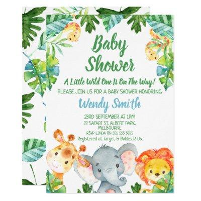 Boys Wild One Safari Animals Baby Shower Invitation