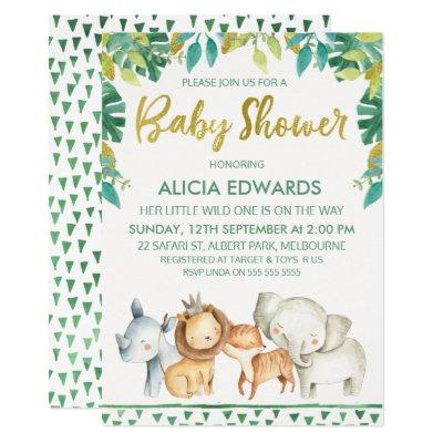 Boys Wild One Safari Baby Shower Invitation