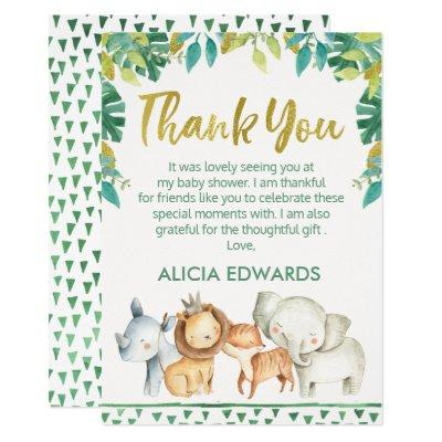 Boys Wild One Safari Baby Shower Thank you Card