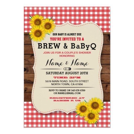 Brew And Babyq Baby Shower Red Sunflower Invite Baby Shower