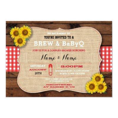 Brew & BABYQ Red Baby Shower Burlap Sunflower Invitations