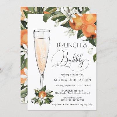 Bridal Brunch and Bubbly Orange Blossom Mimosa Invitation