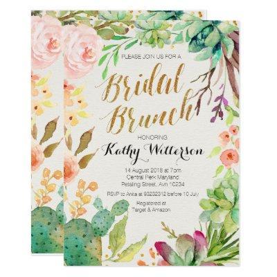 Bridal brunch invitation Succulent cactus