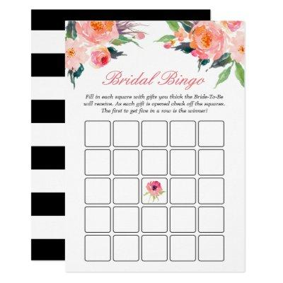 Bridal Shower Bingo Game Modern Watercolor Floral Invitations