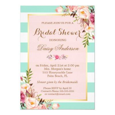 Bridal Shower Floral Baby Pink Mint Green Stripes Invitations