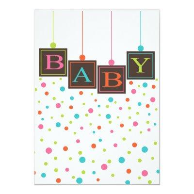 Bright BABY Blocks of Colors Neutral Baby Shower Invitation