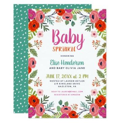 Bright Floral Baby Sprinkle Invitations