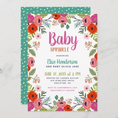 Bright Floral Baby Sprinkle Invitation