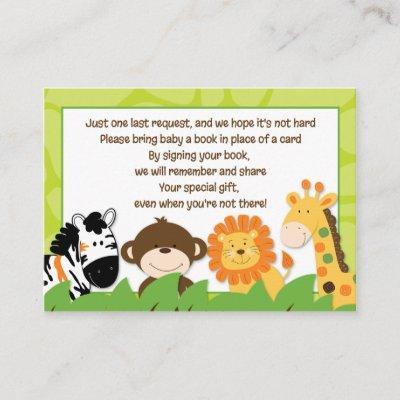 Bright Jungle Safari Enclosure Book Request Invitations