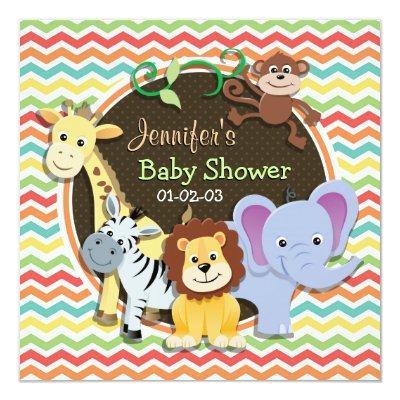Bright Rainbow Chevron Zoo Animals Baby Shower Invitation