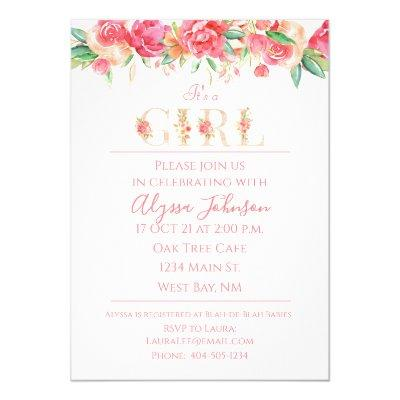 Bright Watercolor Floral It's a Girl Baby Shower Invitation