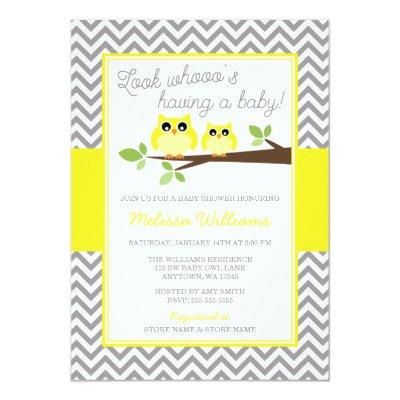 Bright Yellow Owl Gray Chevron Baby Shower Invitations