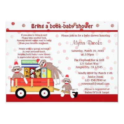 Bring a book baby shower Invitations sock monkey