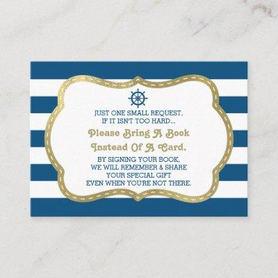 Bring A Book Card, Ahoy, Nautical Shower Faux Gold Enclosure Card