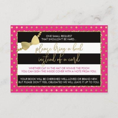 Bring A Book Card, Oh Baby, Faux Glitter/Foil Enclosure Card