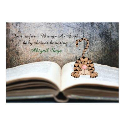 Bring A Book Cat Neutral Invitations