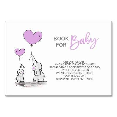 Bring a Book - Elephant LAVENDER Baby Shower Table Number