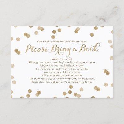 Bring a Book Faux Gold Confetti Modern Insert Card
