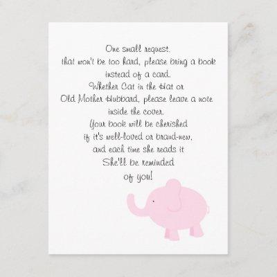 Bring a Book for a Baby Shower Enclosure Card