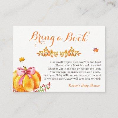 Bring A Book Request Fall Pumpkin Girl Baby Shower Enclosure Card