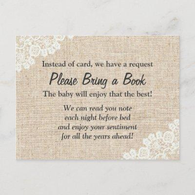 Bring a Book Rustic Lace Burlap Baby Shower Insert Invitations Postcard