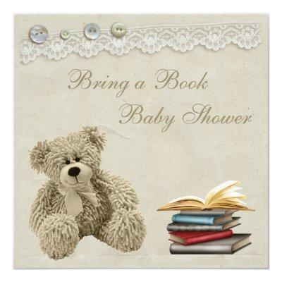Bring a Book Teddy Vintage Lace Baby Shower Invitation