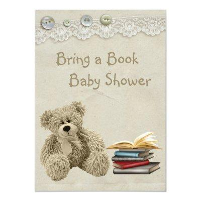 Bring a Book Teddy Vintage Lace Print Invitations